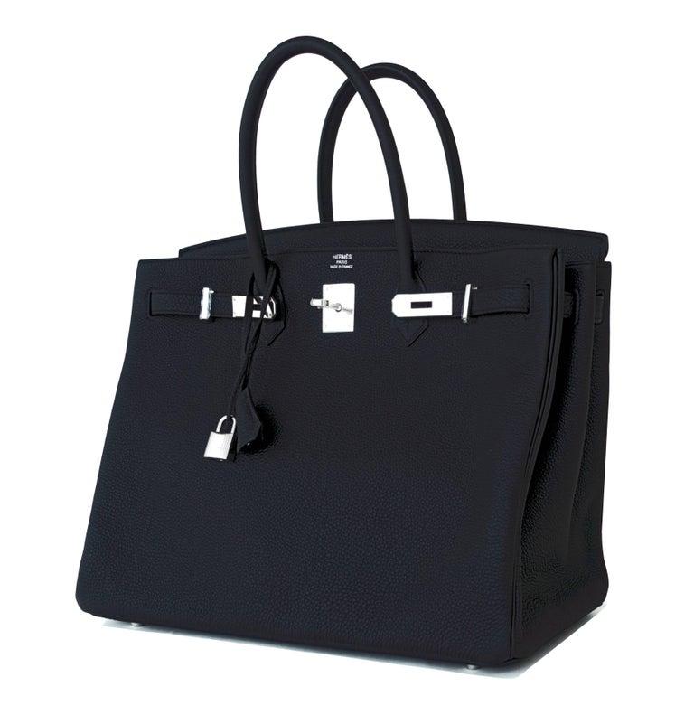 Women's or Men's Hermes Birkin 40cm Black Togo Palladium Hardware Birkin Bag D Stamp, 2019 For Sale