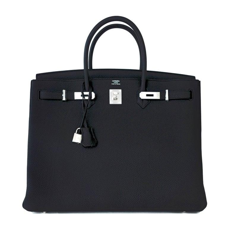 Hermes Birkin 40cm Black Togo Palladium Hardware Birkin Bag D Stamp, 2019 For Sale 5