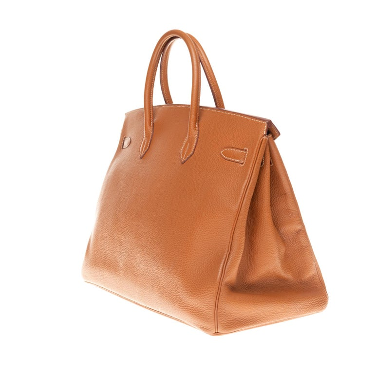 Women's or Men's Hermes Birkin 40cm handbag in Gold Togo leather with gold hardware For Sale