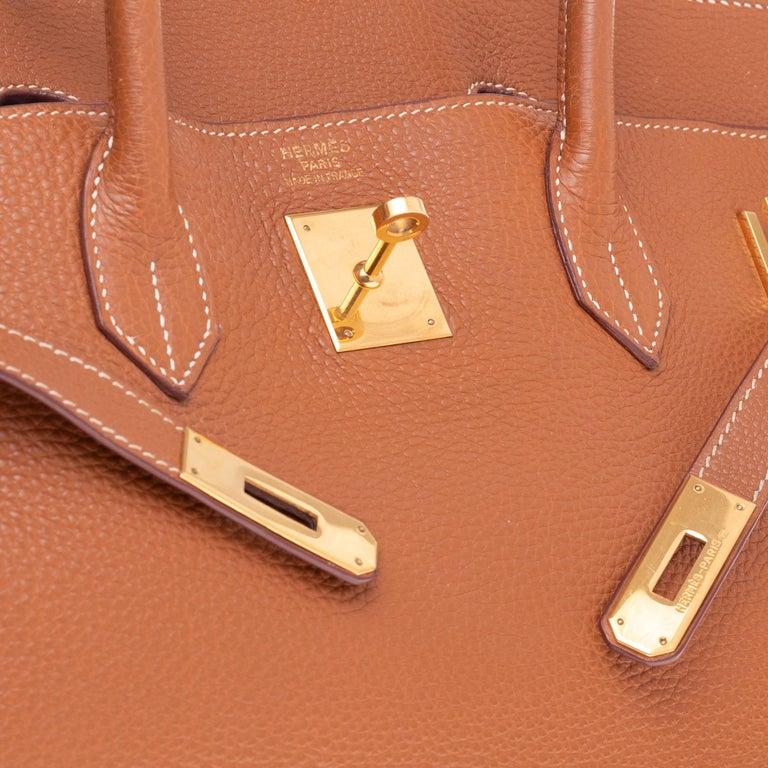 Hermes Birkin 40cm handbag in Gold Togo leather with gold hardware For Sale 1
