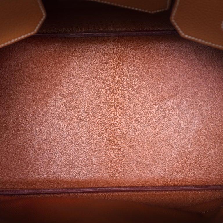 Hermes Birkin 40cm handbag in Gold Togo leather with gold hardware For Sale 3