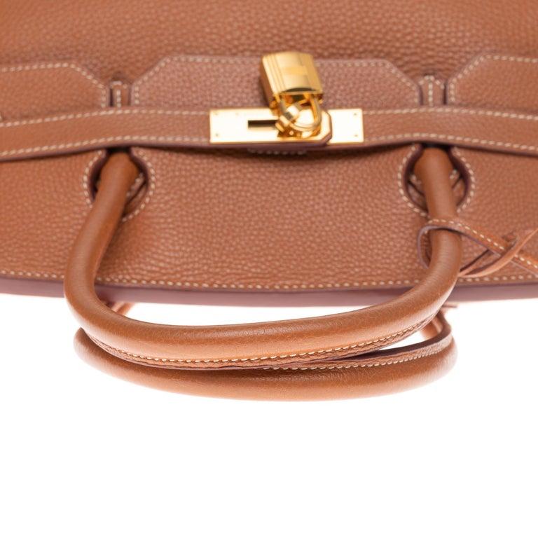 Hermes Birkin 40cm handbag in Gold Togo leather with gold hardware For Sale 4