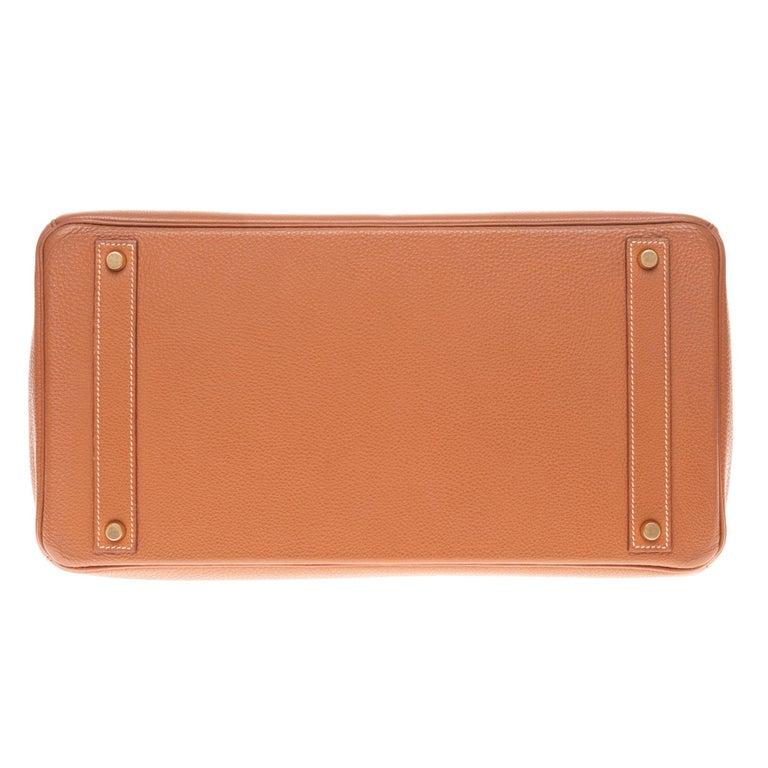 Hermes Birkin 40cm handbag in Gold Togo leather with gold hardware For Sale 5