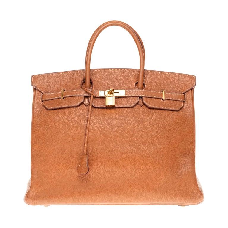 Hermes Birkin 40cm handbag in Gold Togo leather with gold hardware For Sale