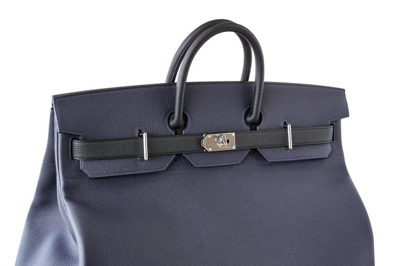 Women's or Men's Hermes Birkin 50 Bag Hac Bi Colour Blue Nuit and Black Palladium Hardware Rare  For Sale