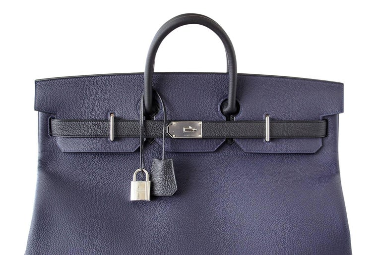 Hermes Birkin 50 Bag Hac Bi Colour Blue Nuit and Black Palladium Hardware Rare  For Sale 1