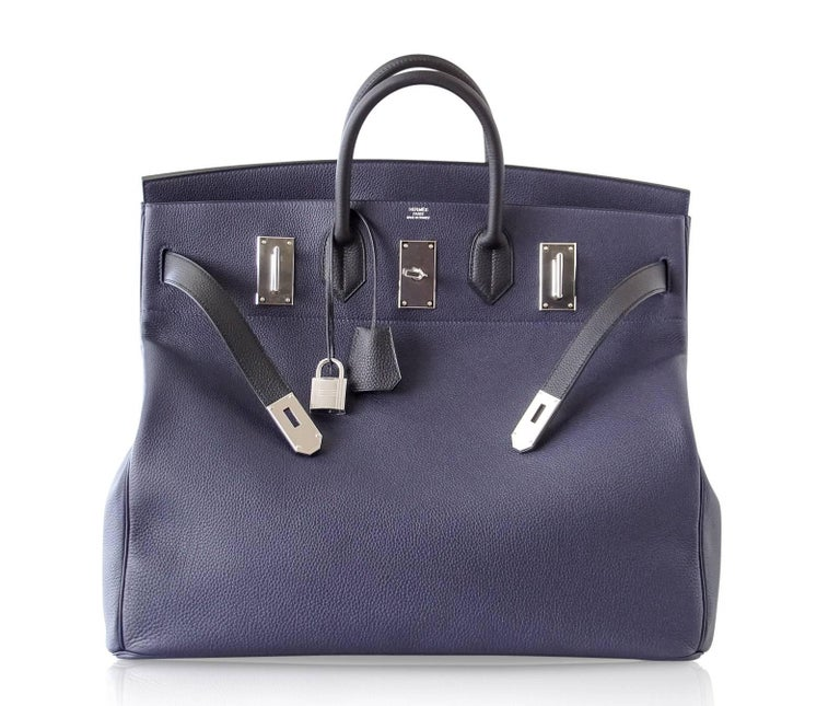 Hermes Birkin 50 Bag Hac Bi Colour Blue Nuit and Black Palladium Hardware Rare  For Sale 2