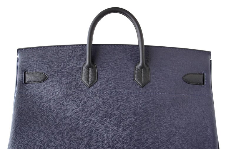 Hermes Birkin 50 Bag Hac Bi Colour Blue Nuit and Black Palladium Hardware Rare  For Sale 3