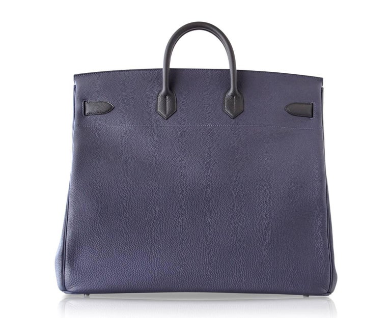 Hermes Birkin 50 Bag Hac Bi Colour Blue Nuit and Black Palladium Hardware Rare  For Sale 4