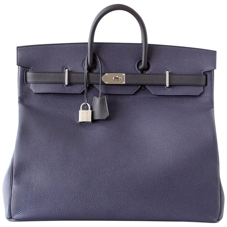Hermes Birkin 50 Bag Hac Bi Colour Blue Nuit and Black Palladium Hardware Rare  For Sale