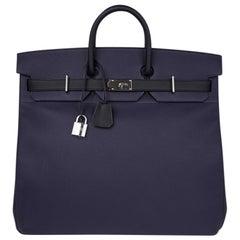 Hermes Birkin 50 Bag Hac Bi Colour Blue Nuit and Black Palladium Hardware Rare
