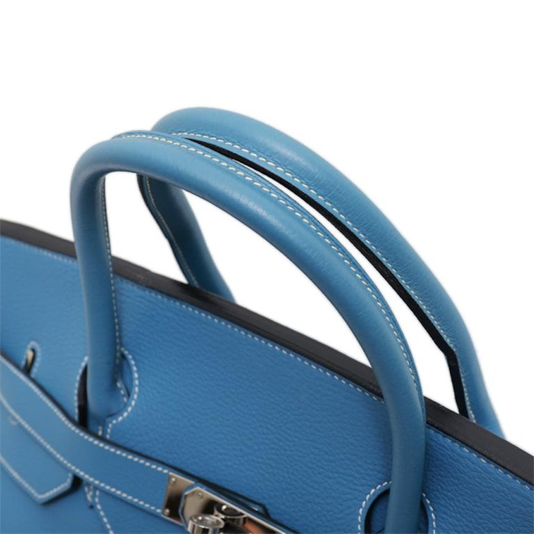 Hermes Birkin 50 Blue Leather Men's Travel Carryall Top Handle Satchel Tote In Good Condition For Sale In Chicago, IL