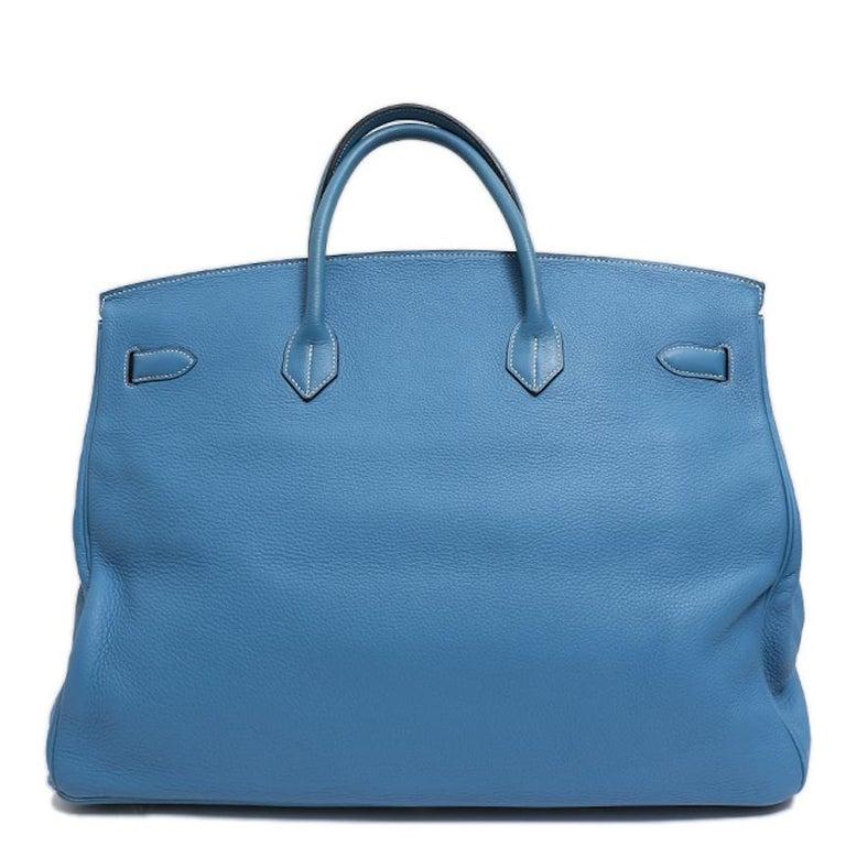 Women's Hermes Birkin 50 Blue Leather Men's Travel Carryall Top Handle Satchel Tote For Sale