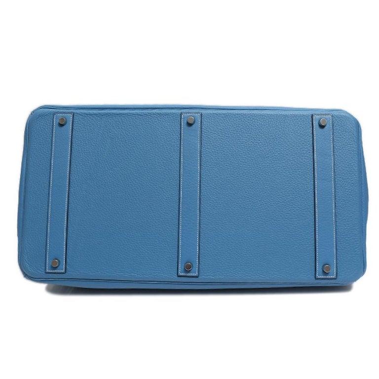 Hermes Birkin 50 Blue Leather Men's Travel Carryall Top Handle Satchel Tote For Sale 1