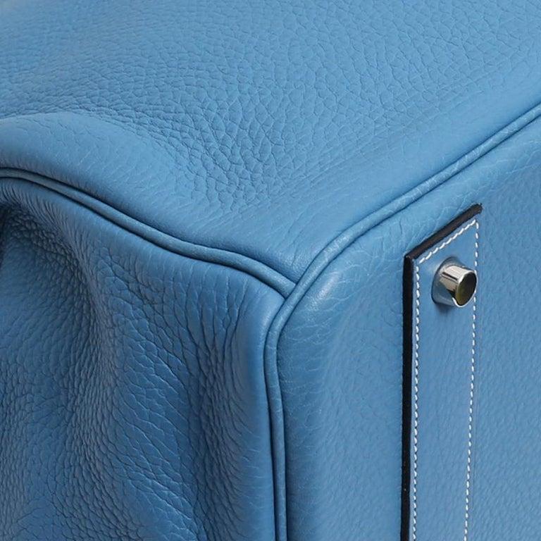 Hermes Birkin 50 Blue Leather Men's Travel Carryall Top Handle Satchel Tote For Sale 2