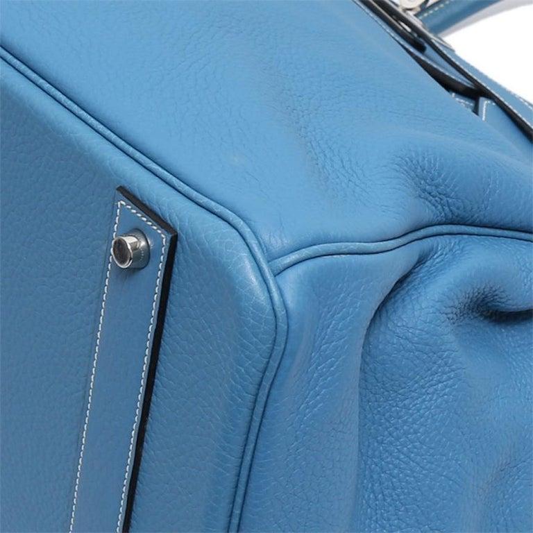 Hermes Birkin 50 Blue Leather Men's Travel Carryall Top Handle Satchel Tote For Sale 3