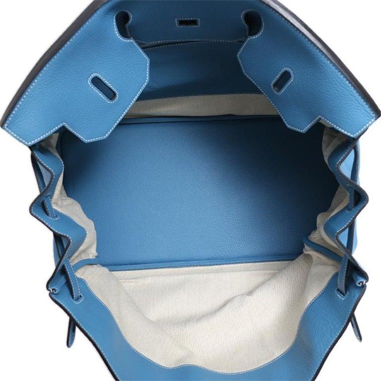 Hermes Birkin 50 Blue Leather Men's Travel Carryall Top Handle Satchel Tote For Sale 4