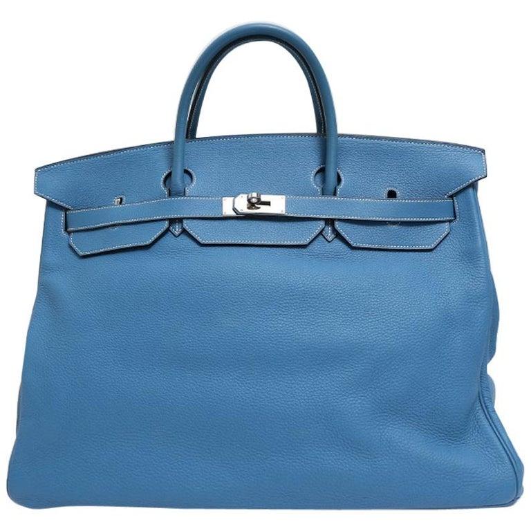 Hermes Birkin 50 Blue Leather Men's Travel Carryall Top Handle Satchel Tote For Sale