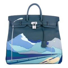 Hermes Birkin 50 Blue Leather Men's Travel Top Handle Satchel Tote in Box