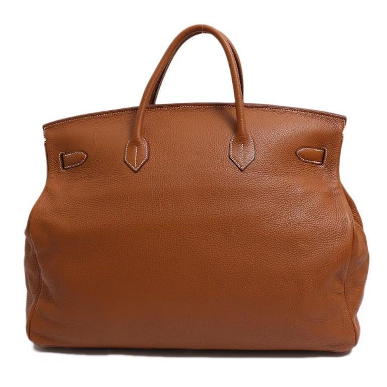 Women's Hermes Birkin 50 Cognac Leather Men's Travel Carryall Top Handle Satchel Tote For Sale