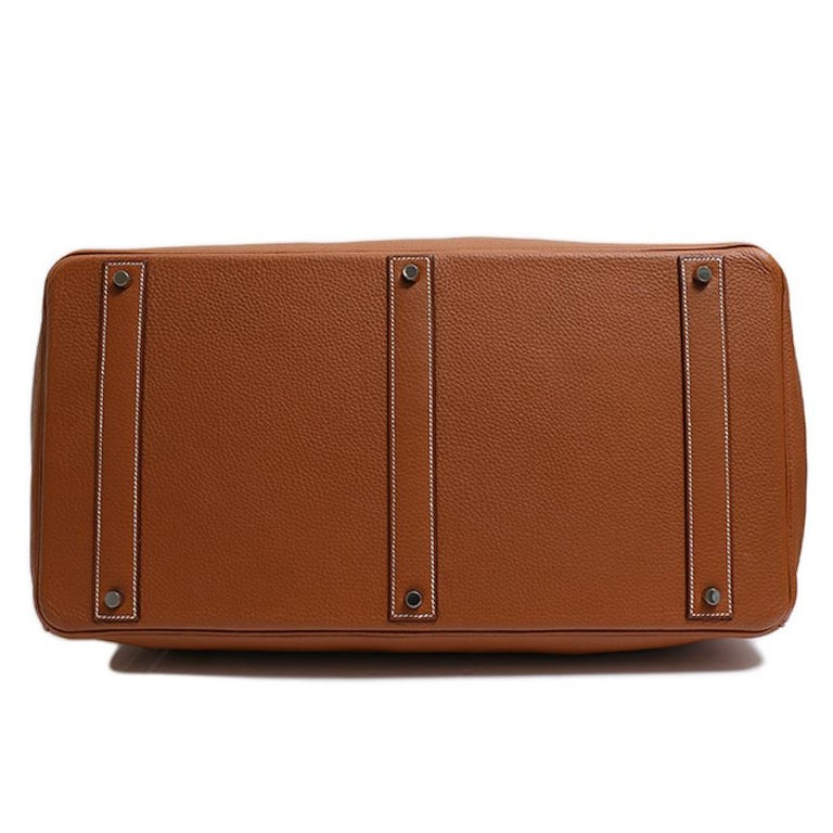 Hermes Birkin 50 Cognac Leather Men's Travel Carryall Top Handle Satchel Tote For Sale 1