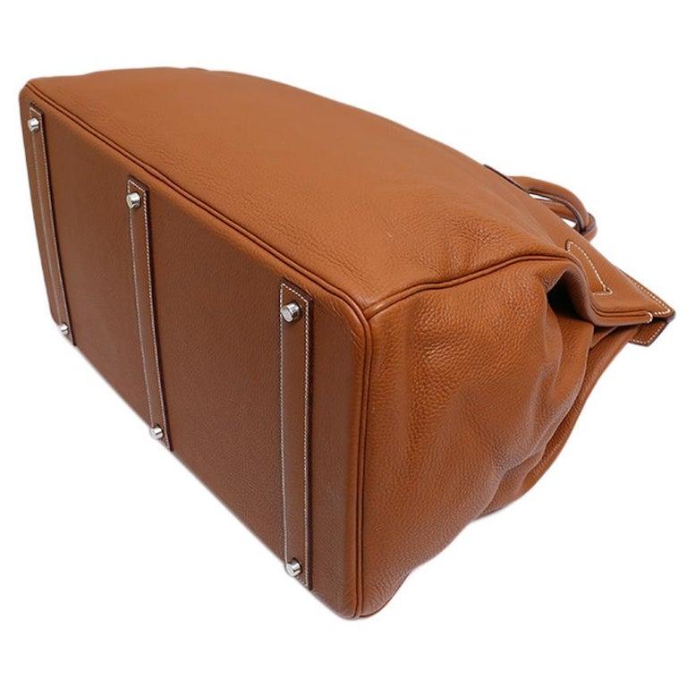 Hermes Birkin 50 Cognac Leather Men's Travel Carryall Top Handle Satchel Tote For Sale 2