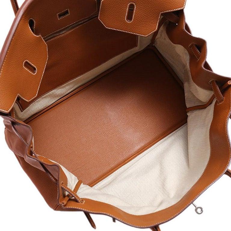Hermes Birkin 50 Cognac Leather Men's Travel Carryall Top Handle Satchel Tote For Sale 3