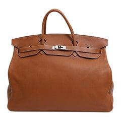 Hermes Birkin 50 Cognac Leather Men's Travel Carryall Top Handle Satchel Tote