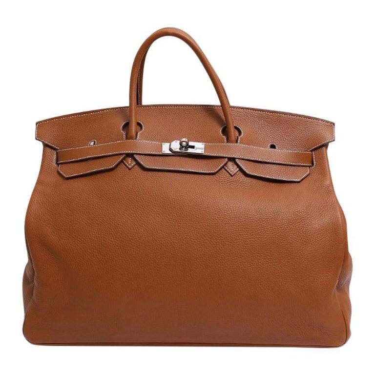 Hermes Birkin 50 Cognac Leather Men's Travel Carryall Top Handle Satchel Tote For Sale