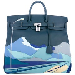 Hermes Birkin 50 HAC Blue Leather Men's Travel Top Handle Satchel Tote in Box