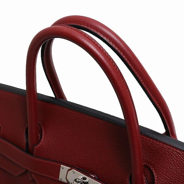 Brown Hermes Birkin 50 Red Leather Men's Travel Carryall Top Handle Satchel Tote For Sale