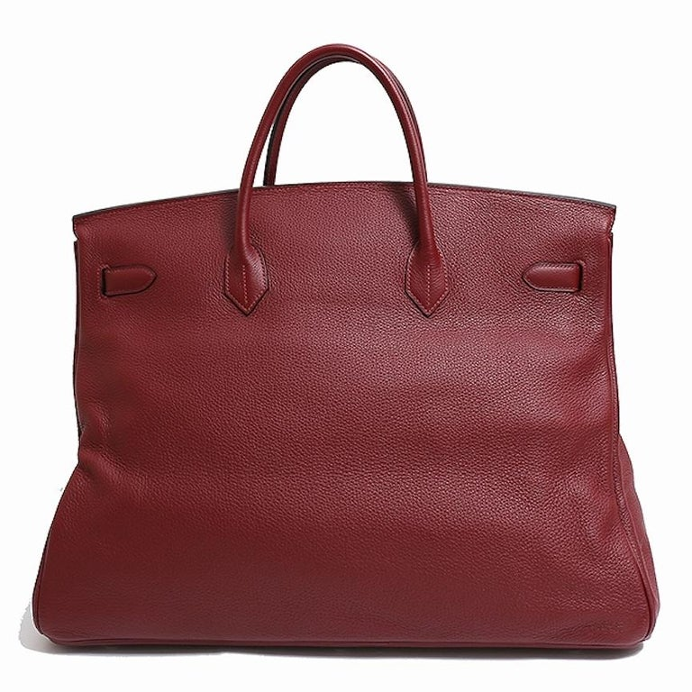 Hermes Birkin 50 Red Leather Men's Travel Carryall Top Handle Satchel Tote In Good Condition For Sale In Chicago, IL