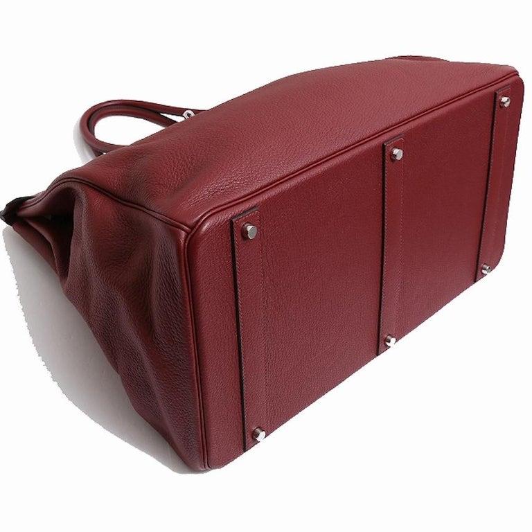 Women's Hermes Birkin 50 Red Leather Men's Travel Carryall Top Handle Satchel Tote For Sale