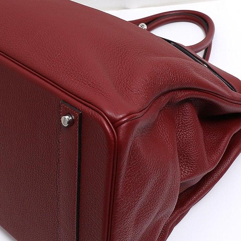 Hermes Birkin 50 Red Leather Men's Travel Carryall Top Handle Satchel Tote For Sale 1