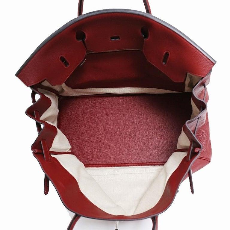 Hermes Birkin 50 Red Leather Men's Travel Carryall Top Handle Satchel Tote For Sale 2