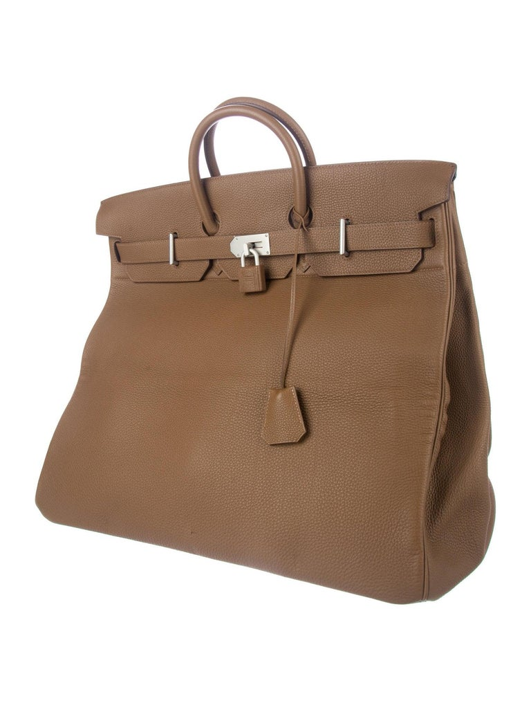 Hermes Birkin 50 Tan Taupe Leather Men's Travel Carryall Top Handle Satchel Tote In Good Condition For Sale In Chicago, IL