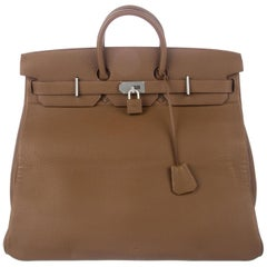 Hermes Birkin 50 Tan Taupe Leather Men's Travel Carryall Top Handle Satchel Tote