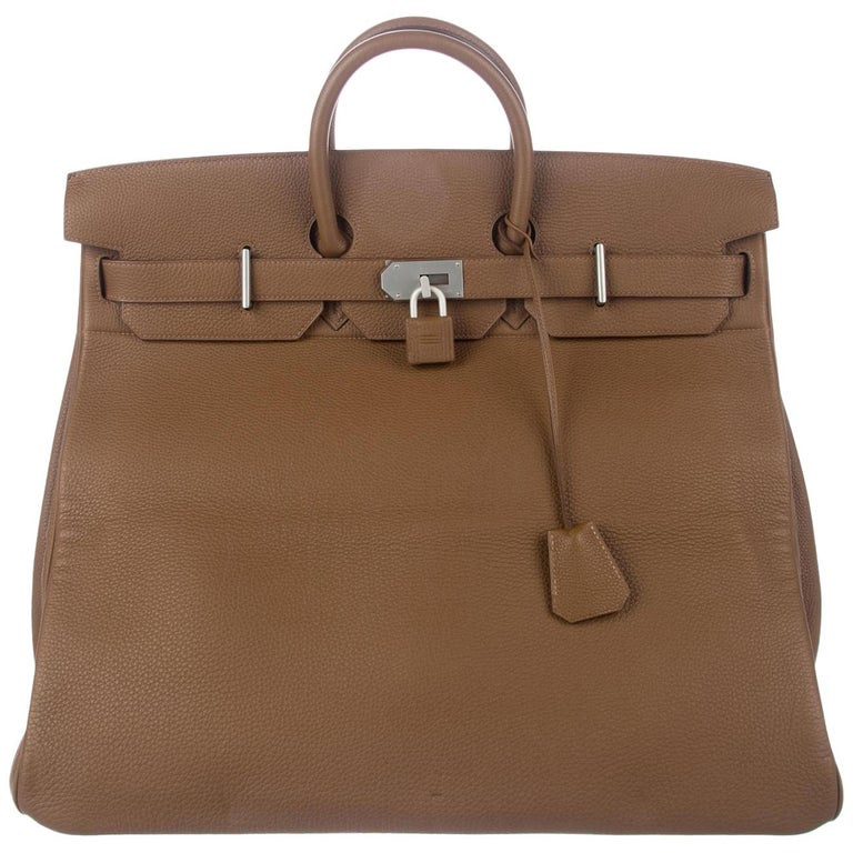 Hermes Birkin 50 Tan Taupe Leather Men's Travel Carryall Top Handle Satchel Tote For Sale