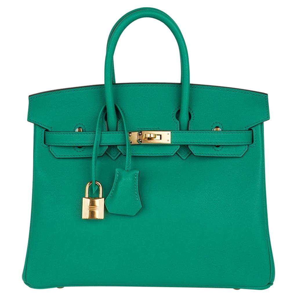 Hermes Birkin Bag 25 Vert Vertigo Emerald Tone Swift Gold Hardware