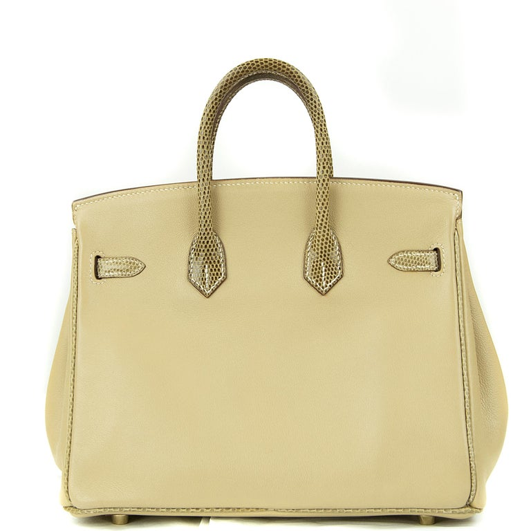 Guaranteed authentic Hermes 25cm Birkin in Argile Swift Leather and Ficelle Lizard. This iconic special order Hermes Birkin bag is timeless and chic. Fresh and crisp with gold hardware.      Condition: New or Never Used     Made in France     Bag