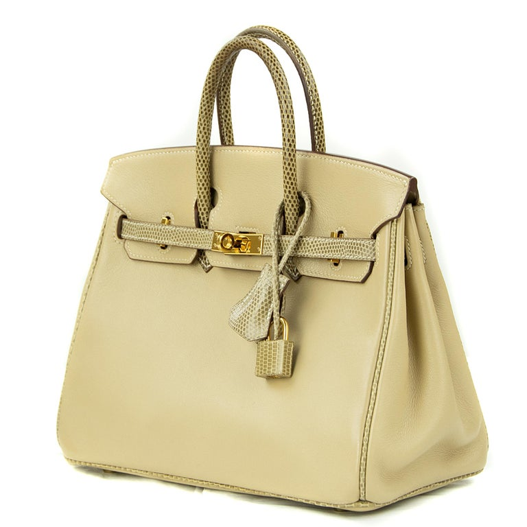 Hermes Birkin Bag 25cm Argile Swift leather and Ficelle Lizard GHW In Excellent Condition For Sale In Newport, RI