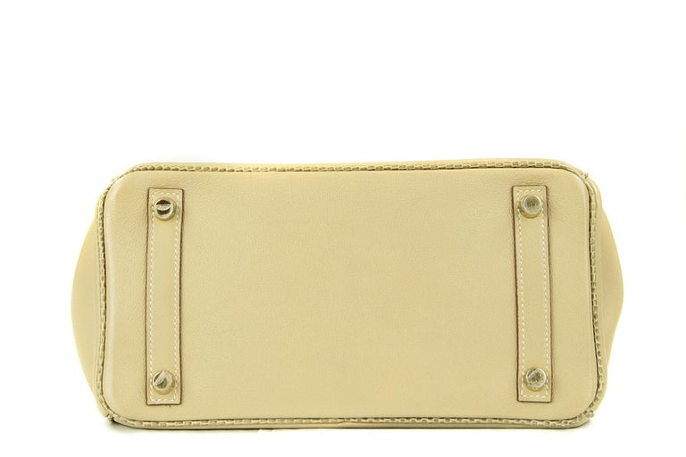 Women's or Men's Hermes Birkin Bag 25cm Argile Swift leather and Ficelle Lizard GHW For Sale