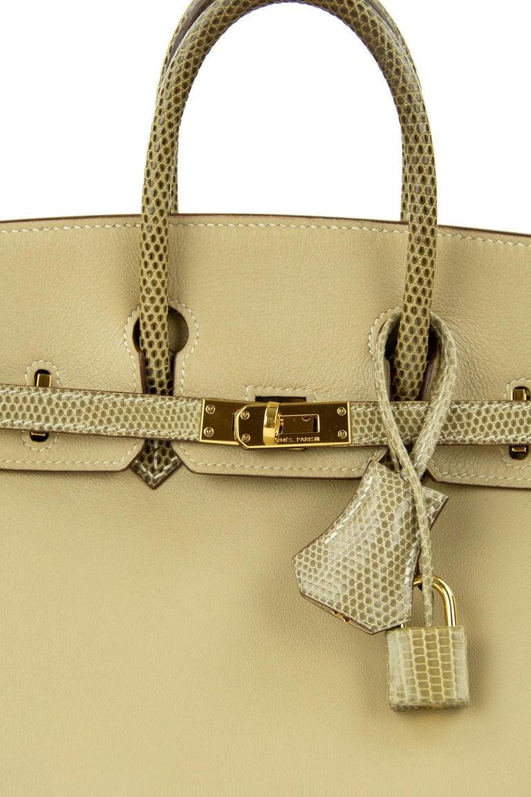 Hermes Birkin Bag 25cm Argile Swift leather and Ficelle Lizard GHW For Sale 1