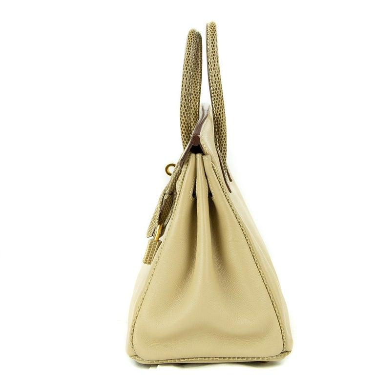 Hermes Birkin Bag 25cm Argile Swift leather and Ficelle Lizard GHW For Sale 5