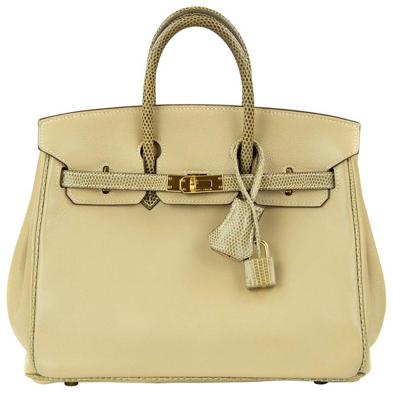 Hermes Birkin Bag 25cm Argile Swift leather and Ficelle Lizard GHW For Sale
