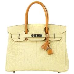 Hermes Birkin Bag 30cm Matte Vanille Alligator Veau Butler PHW