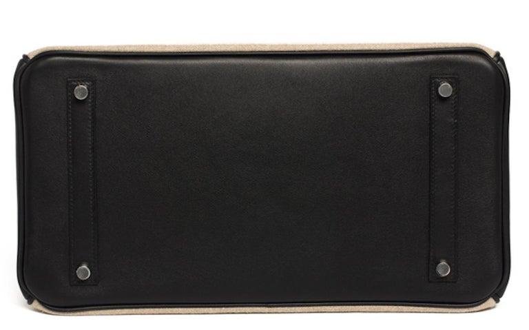 Beige Hermes Birkin Bag 35 De Camp Dechainee Toile Black Veau Swift Palladium Hardware For Sale