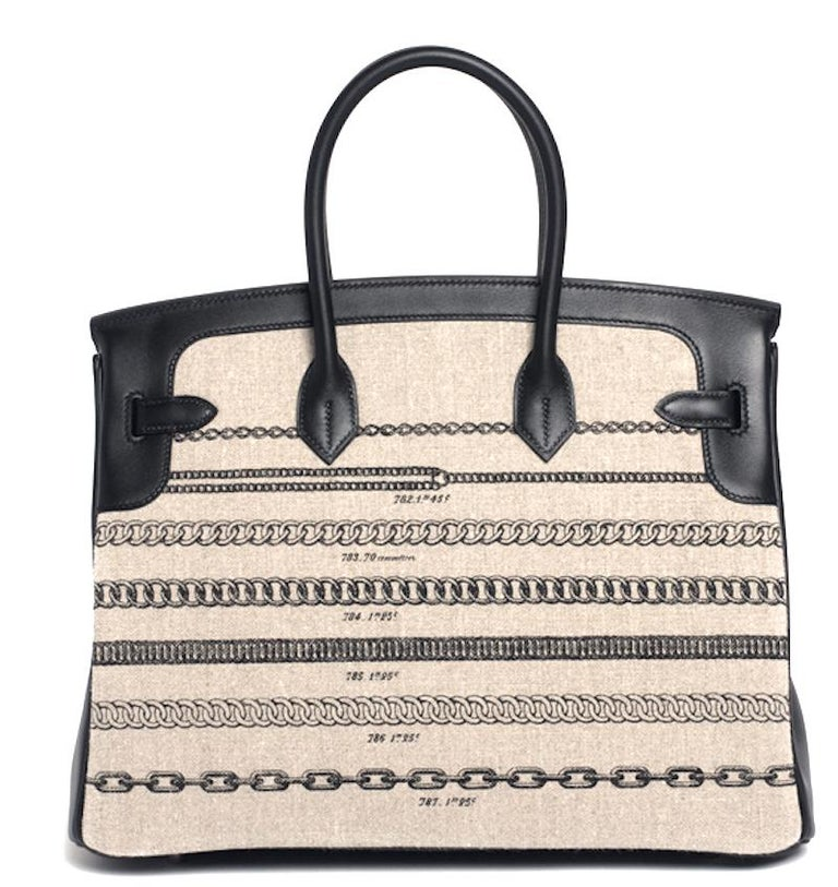 Hermes Birkin Bag 35 De Camp Dechainee Toile Black Veau Swift Palladium Hardware In New Condition For Sale In Delray Beach, FL