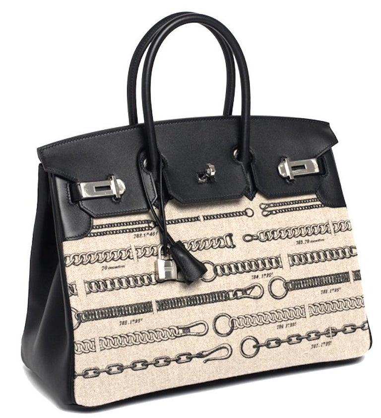 Women's or Men's Hermes Birkin Bag 35 De Camp Dechainee Toile Black Veau Swift Palladium Hardware For Sale