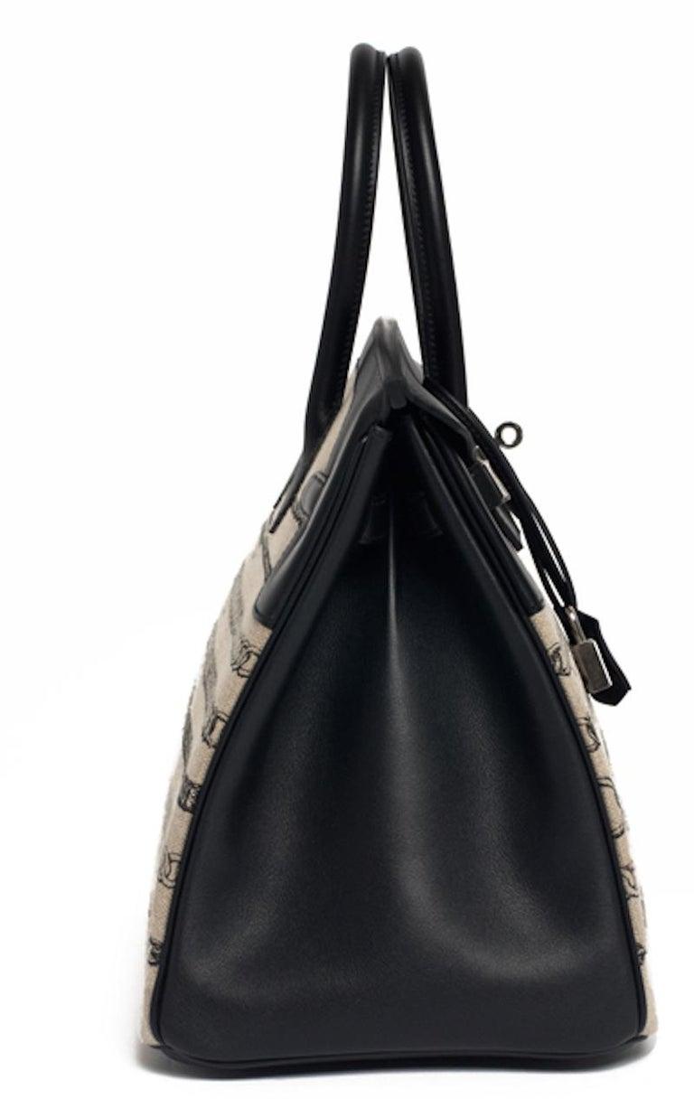 Hermes Birkin Bag 35 De Camp Dechainee Toile Black Veau Swift Palladium Hardware For Sale 2